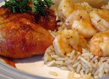 Chicken and Shrimp. A barbequed chicken leg, along with garlic shrimp on a bed of rice royalty free stock photo