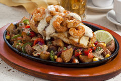 Chicken and shrimp lunch Stock Photo