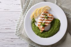 Chicken and a side dish of green peas  horizontal top view Royalty Free Stock Image