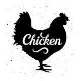 Chicken Silhouette 005. Chicken silhouette with a calligraphic inscription `Chicken` on a grunge background. Vector illustration Stock Photos