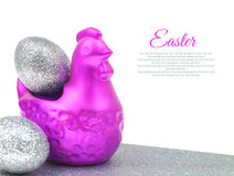 Chicken with silver eggs Easter Stock Photography
