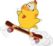 Chicken and skate board cartoon Stock Photo