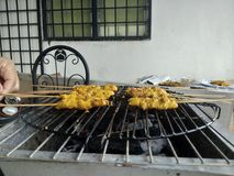 Chicken skewer. Asian chicken satay Royalty Free Stock Images