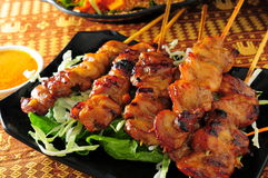 Chicken Skewer. Baked Chicken satay skewer sticks royalty free stock photography