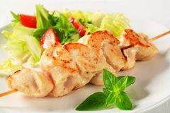 Chicken skewer Stock Images