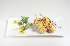 Chicken skewer with cheese. On white plate stock image