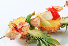 Chicken skewer and fresh pineapple Stock Photography