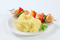 Chicken skewer with mashed potato Stock Photography