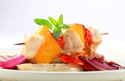 Chicken skewer with pan roasted vegetables Royalty Free Stock Photography