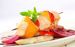 Chicken skewer with pan roasted vegetables Stock Image