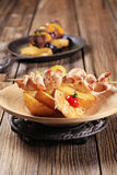 Chicken skewer with potato Royalty Free Stock Photos
