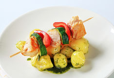 Chicken skewer with potatoes Stock Photography