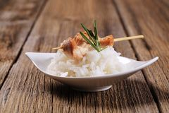 Chicken skewer and rice Stock Photo