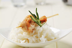 Chicken skewer and rice Stock Images