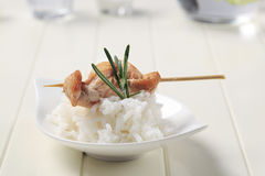 Chicken skewer and rice Royalty Free Stock Image
