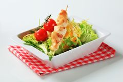 Chicken skewer with salad greens Royalty Free Stock Photo