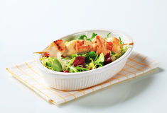 Chicken skewer and salad mix Royalty Free Stock Image