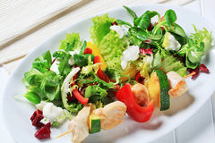 Chicken skewer with salad mix Royalty Free Stock Images