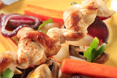 Chicken skewer and vegetables Stock Photo