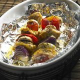 Chicken skewers. With red onion Stock Photography