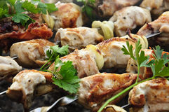 Chicken skewers Stock Images