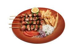 Chicken skewers royalty free stock photo