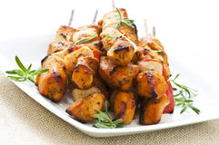 Chicken skewers Royalty Free Stock Images