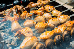 Chicken skewers on barbecue Royalty Free Stock Image