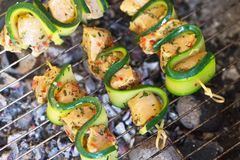 Chicken skewers. On a grill Stock Images