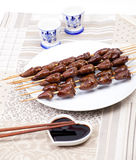 Chicken skewers hearts Royalty Free Stock Image