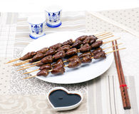 Chicken skewers hearts Stock Photo