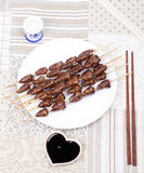 Chicken skewers hearts Stock Image