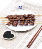 Chicken skewers hearts Royalty Free Stock Images