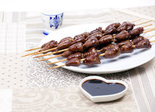 Chicken skewers hearts Royalty Free Stock Photo