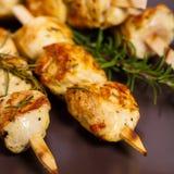 Chicken Skewers. Chicken Kebab or Kabob Skewers. Selective focus Stock Photos
