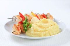 Chicken skewers with mashed potato Stock Photo