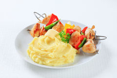 Chicken skewers with mashed potato Stock Photography