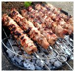 Chicken Skewers On A Barbecue Royalty Free Stock Image