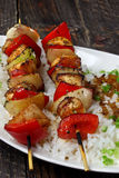 Chicken skewers with rice Royalty Free Stock Photo