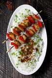 Chicken skewers with rice Royalty Free Stock Photography