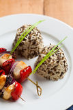 Chicken skewers with rice Royalty Free Stock Photos