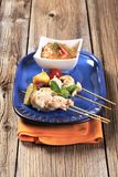 Chicken skewers  and Romesco sauce Royalty Free Stock Images