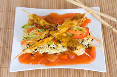 Chicken skewers with vegetable rice Stock Image
