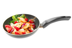 Chicken slices on black pan Stock Image