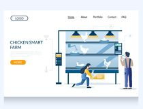Free Chicken Smart Farm Vector Website Landing Page Design Template Stock Images - 164131544