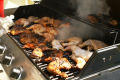 Chicken Smoking On Grill Royalty Free Stock Photo