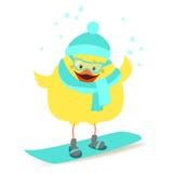 Chicken snowboarder Chicken sportsman in winter clothes. Vector Stock Photo