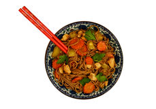 Chicken soba noodles with carrot, squash and coriander leaves is Stock Images