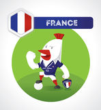 Chicken soccer character. In soccer suit with France national emblem Stock Photography