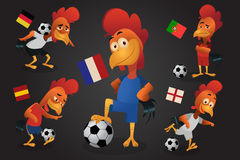 Chicken soccer mascot play football.France championship european. League 2016.Vector and illustration Royalty Free Stock Photo